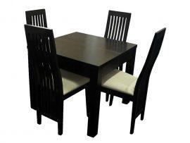 Prosty czarny stolik z krzesłami do jadalni