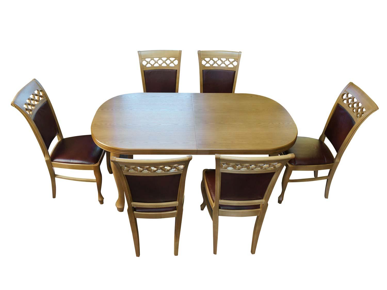Rozkładany stół i sześć krzeseł