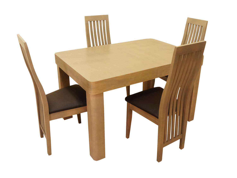 Cztery krzesła i stół jasny