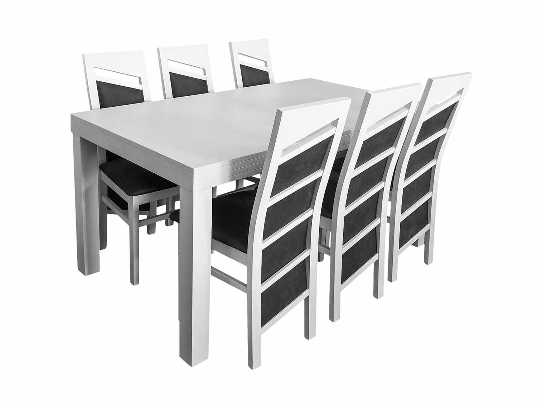 Biało czarny stoł do jadalni z krzesłami
