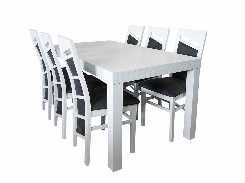 Biały stół z krzesłami do jadalni