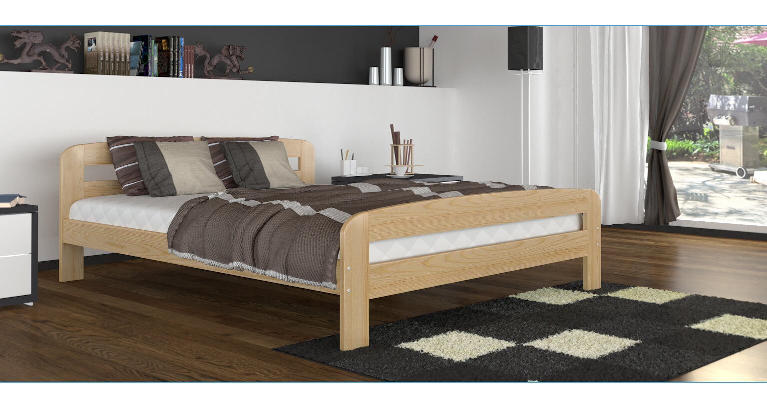 Łóżko z drewnianym stelażem 160x200