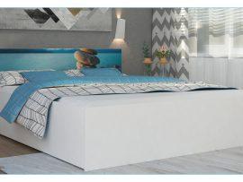 Łóżko z podnoszonym stelażem i grafiką Panama