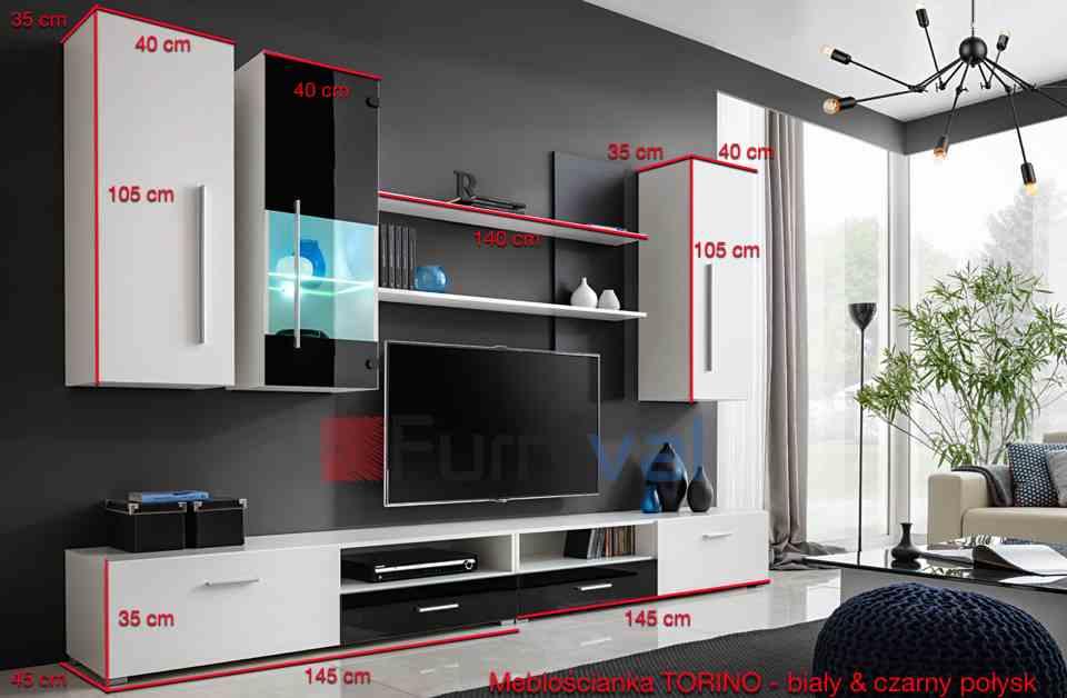 biało czarna meblościanka 290 cm TV Emily