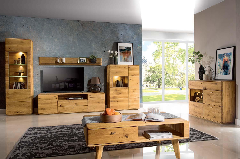 Naturalny drewniany komplet do salonu