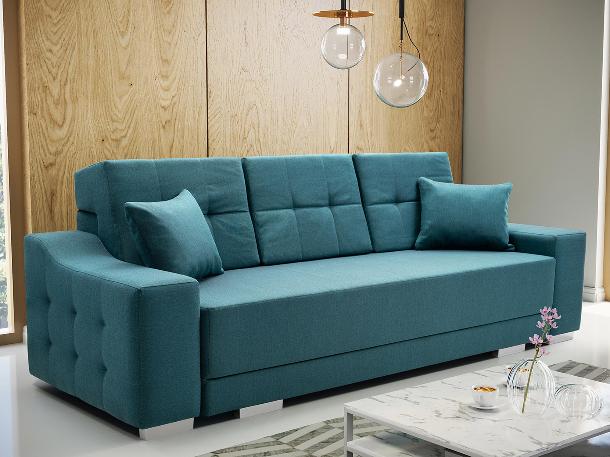 Sofa 2 Osobowa z Funkcją Spania PALMAS aranżacja