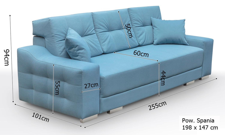 Sofa 2 Osobowa z Funkcją Spania PALMAS wymiary